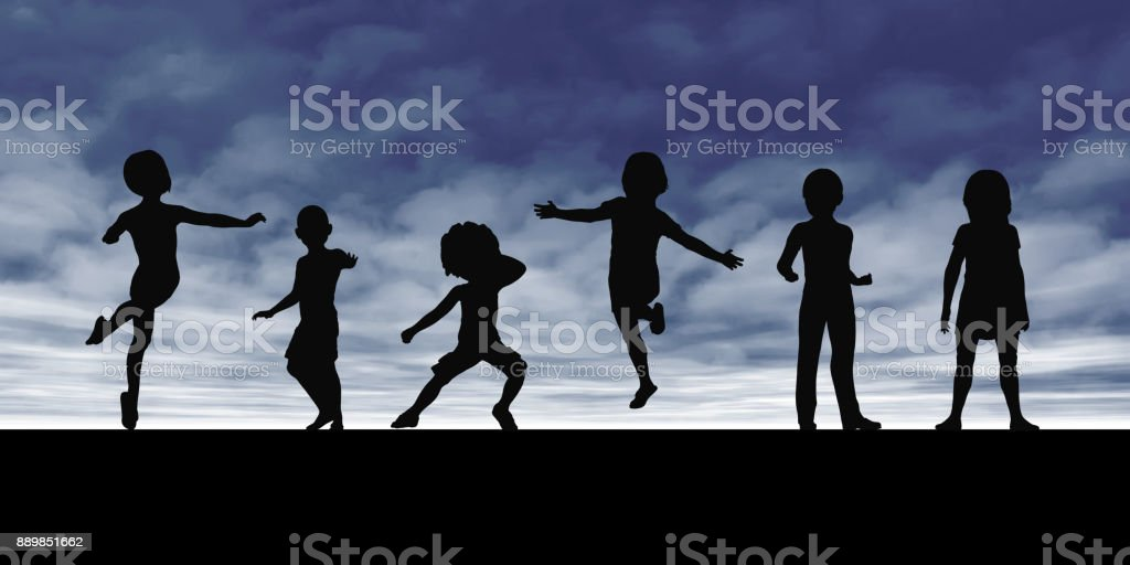 Kids Playing in the Summertime stock photo