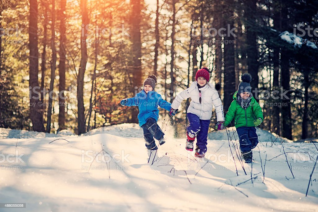 Kids playing in winter forest stock photo