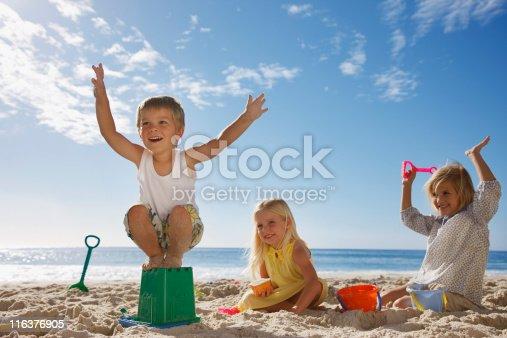 istock Kids playing on beach 116376905