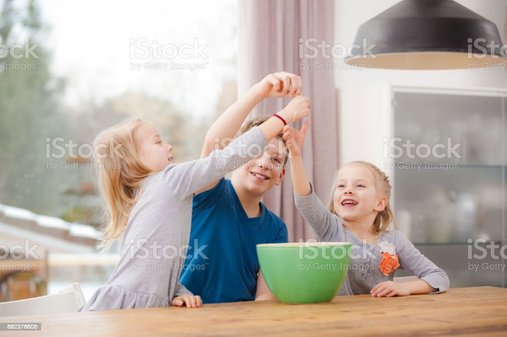 kids playing with pasta royalty-free stock photo