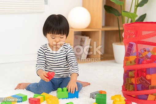 452592895 istock photo Kids playing with toy blocks, 2 year old girl 1210691993
