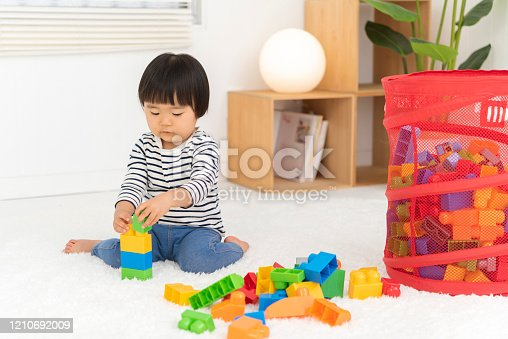 452592895 istock photo Kids playing with toy blocks, 2 year old girl 1210692009