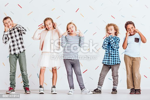 istock Kids pulling faces 656141914