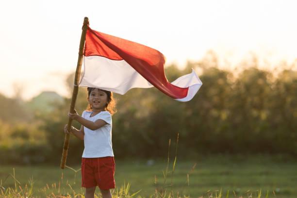 crianças, levantando a bandeira indonésia - bandeira da indonesia - fotografias e filmes do acervo
