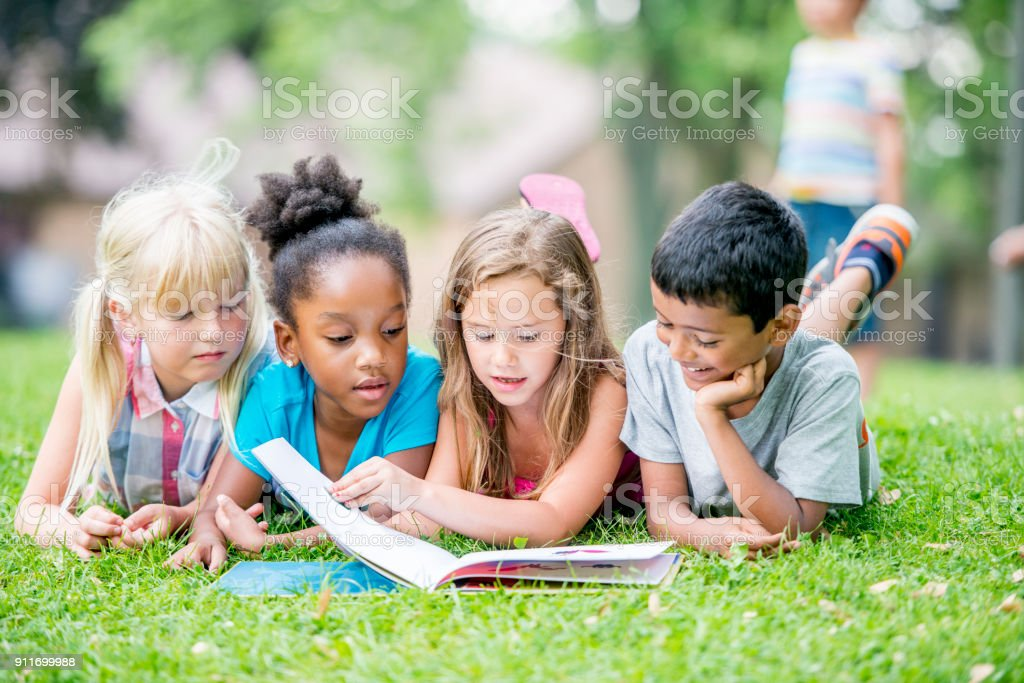 Kids Reading stock photo