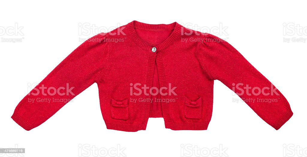 kids red sweater for girls isolated on white background stock photo