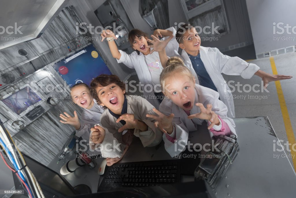 Kids rest in the quest room game bunker stock photo