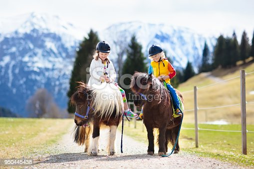 istock Kids riding pony. Child on horse in Alps mountains 950445438