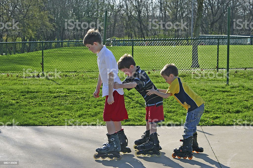 Kids Roller-Blading royalty-free stock photo