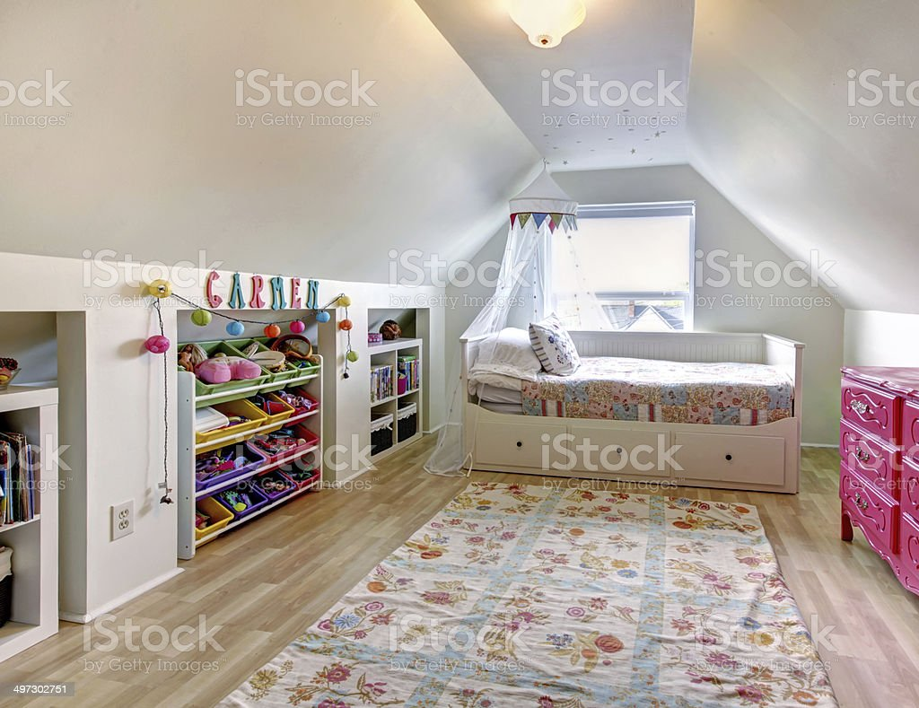 Kids room in old house stock photo