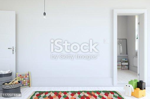 istock kids room interior. mock up Wall art. 3d rendering, 3d illustration. 1172073306