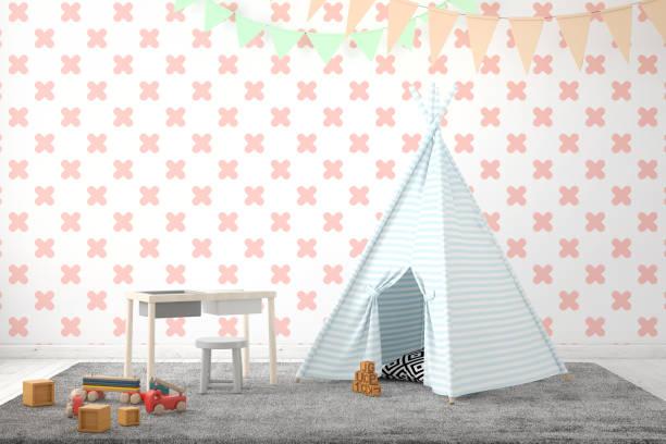 kinderzimmer-interieur mit leerer wand - tipi bett stock-fotos und bilder
