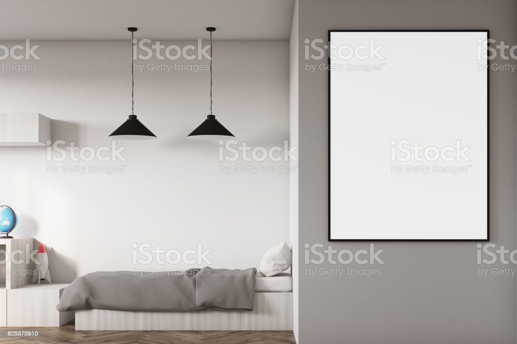 Kids room with a poster close up stock photo