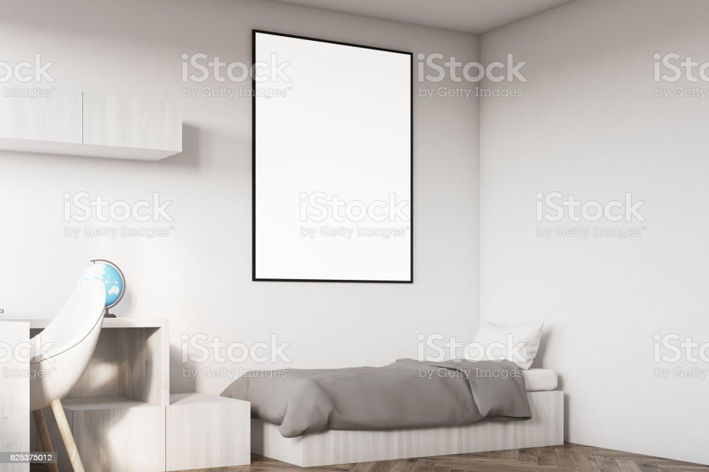 Kids room with a poster corner stock photo