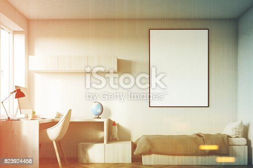 1061427386 istock photo Kids room with a poster toned 823924458