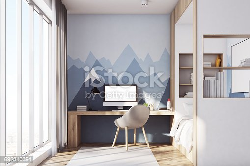1061427386 istock photo Kids room with pc, front, mountain 692310394