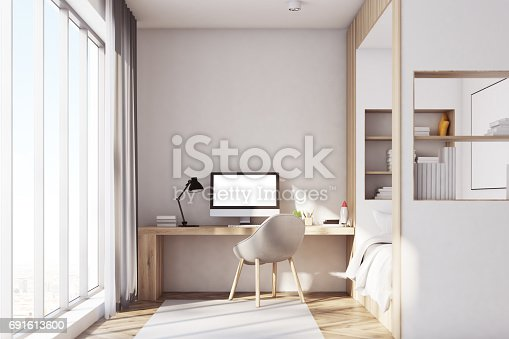 1061427386 istock photo Kids room with pc, front 691613600