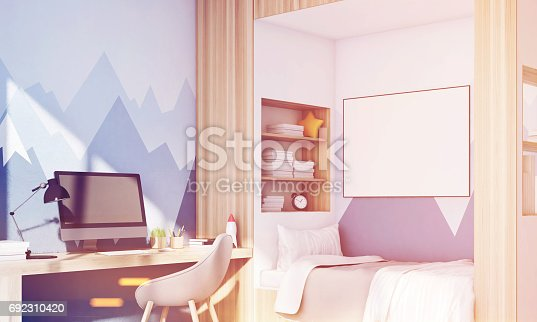 1061427386 istock photo Kids room with pc, mountain, toned 692310420