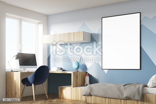 1061427386 istock photo Kids room with poster and mountain corner 823927774