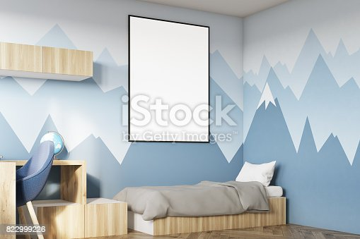 1061427386 istock photo Kids room with poster and mountain side 822999226