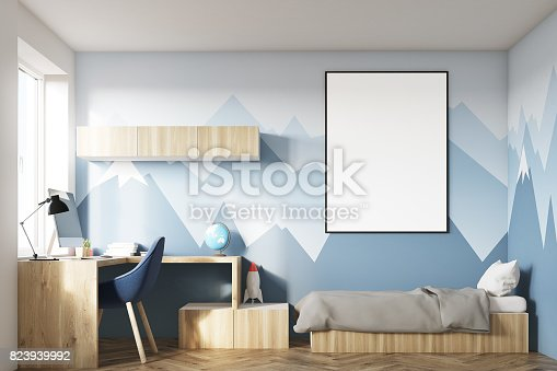 1061427386 istock photo Kids room with poster and mountain wall 823939992