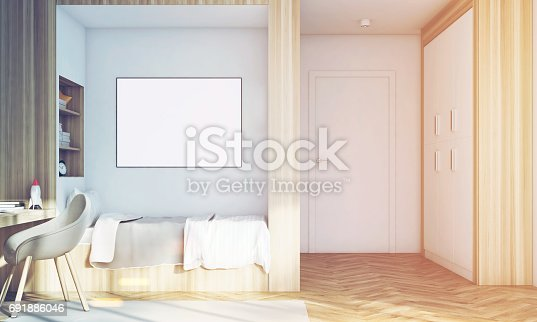 1061427386 istock photo Kids room with poster close up, toned 691886046