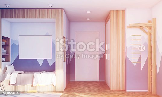 1061427386 istock photo Kids room with poster, mountain, toned 691620100