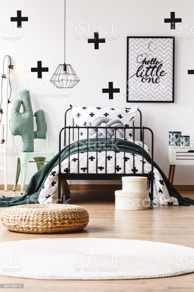Kids room with trendy wallpaper stock photo