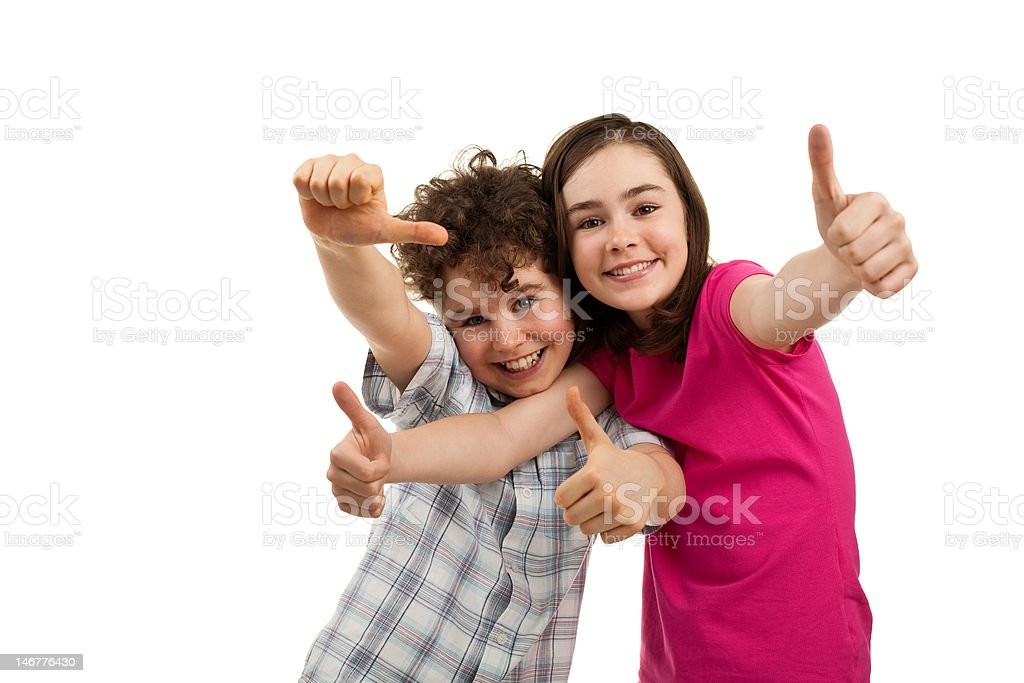 Kids showing OK sign isolated on white stock photo