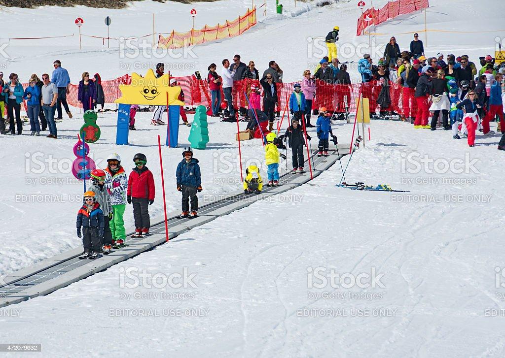 Kids skiing in an Austria ski school stock photo
