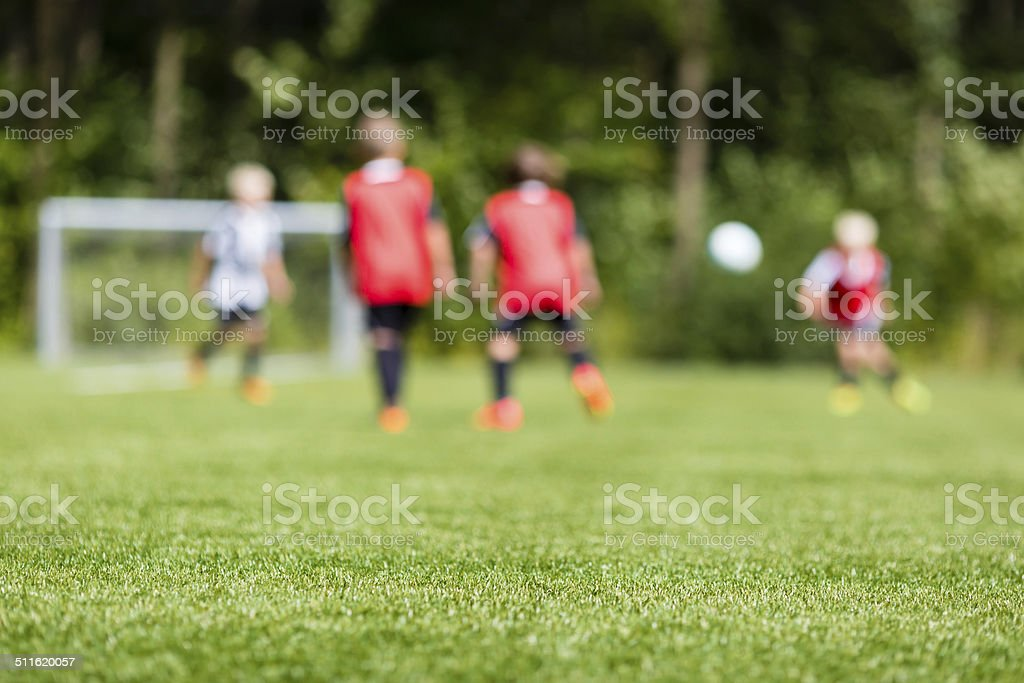 Kids soccer blur stock photo