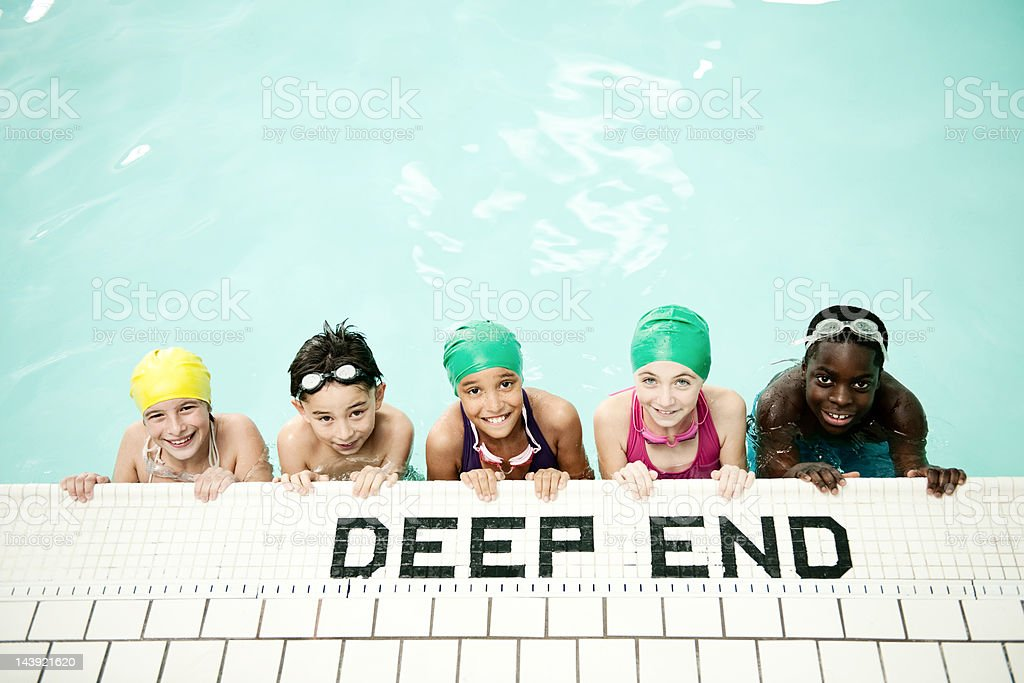 Kids swim team at the pool royalty-free stock photo