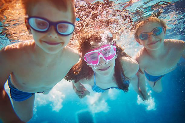 Kids swimming underwater stock photo