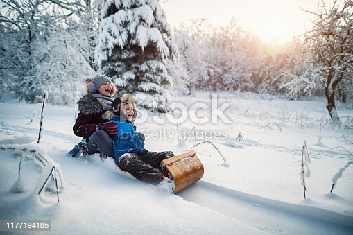 Little boy and his elder sister are tobogganing in forest. Kids are 12 and 8 years old.  Cold and sunny winter day. Shot with Nikon D850