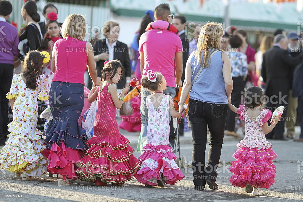 kids walkign around during the April Fair royalty-free stock photo