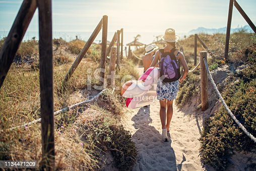 Kids walking on path between san dunes to the beach. Sunny summer day on Majorca, Spain. Nikon D850