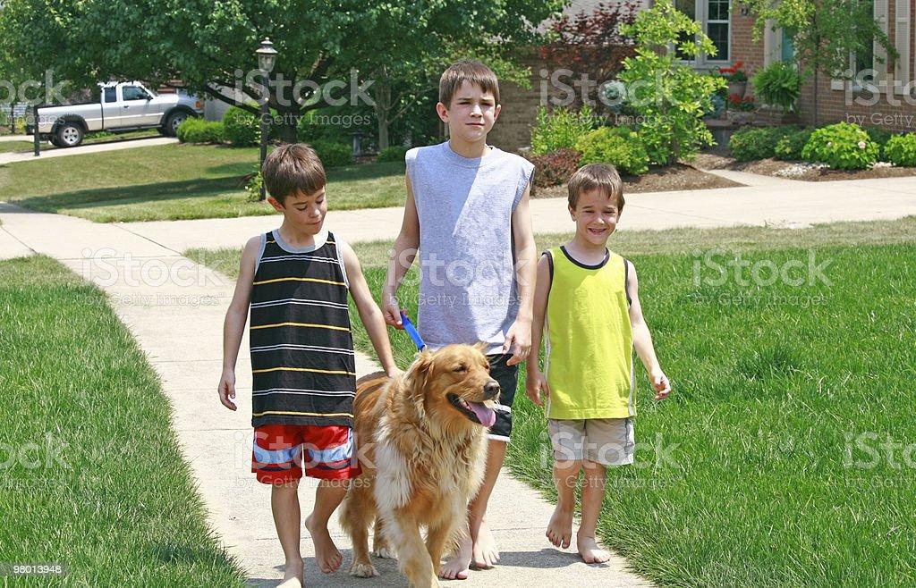 Crianças andar com o cachorro foto royalty-free