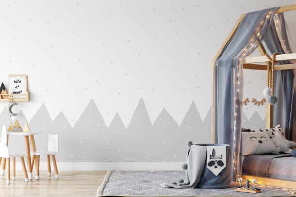 Kinder Wand mock up. Kinder-Interieur. Skandinavisches Interieur. 3D-Rendering, 3D-Illustration – Foto
