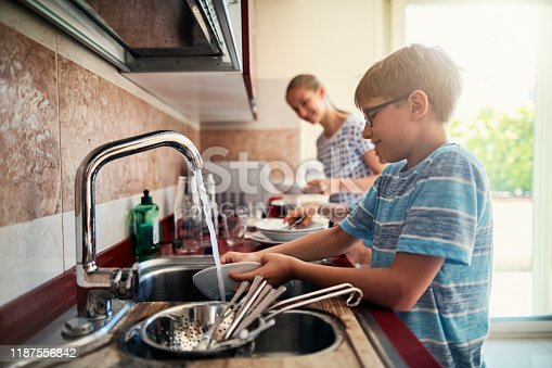 Three kids washing up dishes in kitchen. The boys and a girl are working together to help their parents. Nikon D850