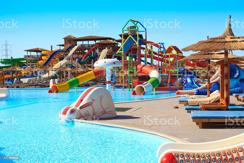 Kids waterpark and a swimming pool stock photo