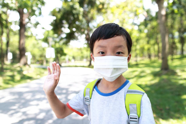 Kinder tragen die Maske, um sie selbst vor Viren und Luftverschmutzung zu schützen. – Foto