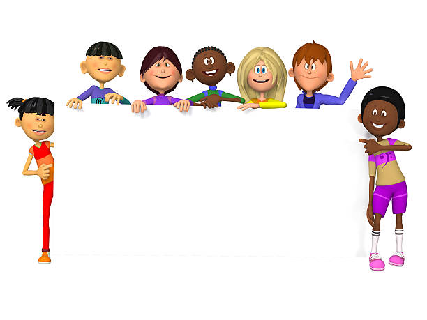 Kids with a blank sign stock photo