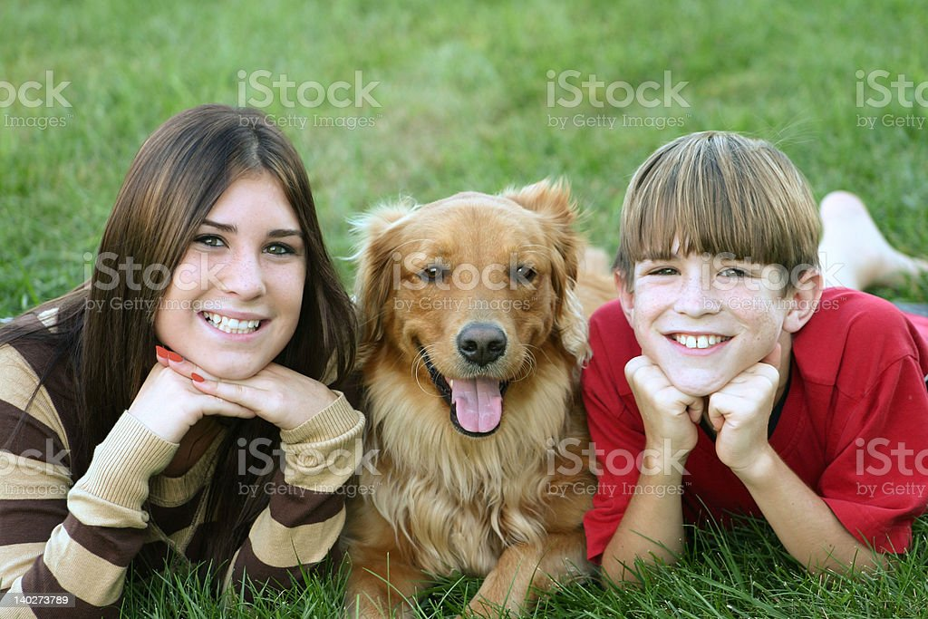 Kids with Dog royalty-free stock photo
