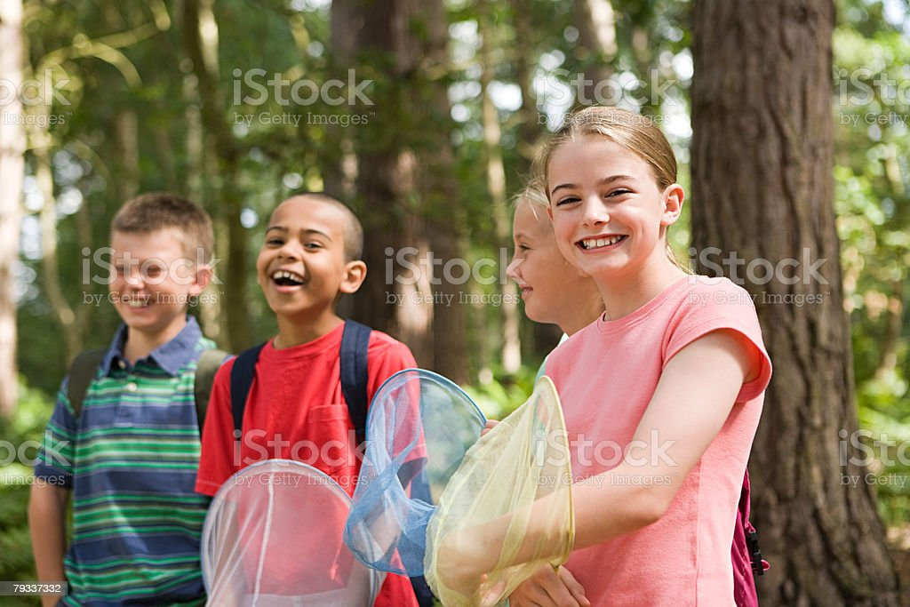 Kids with fishing nets stock photo