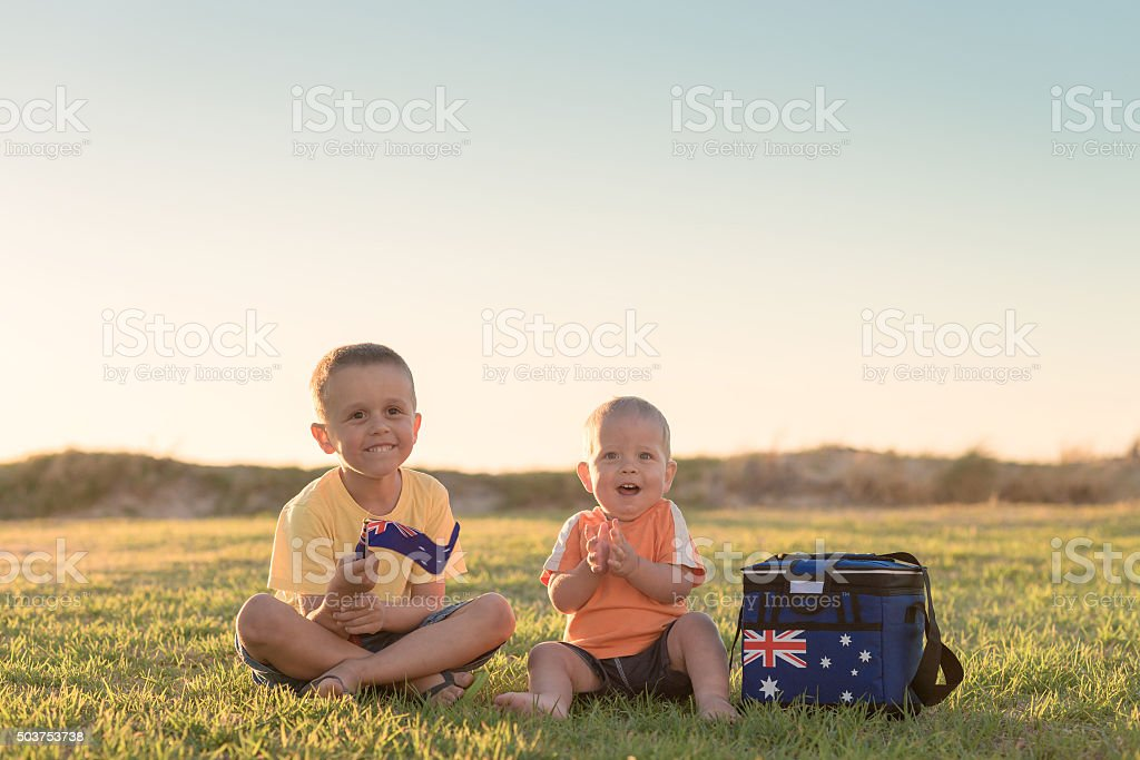 Kids with flag of Australia stock photo