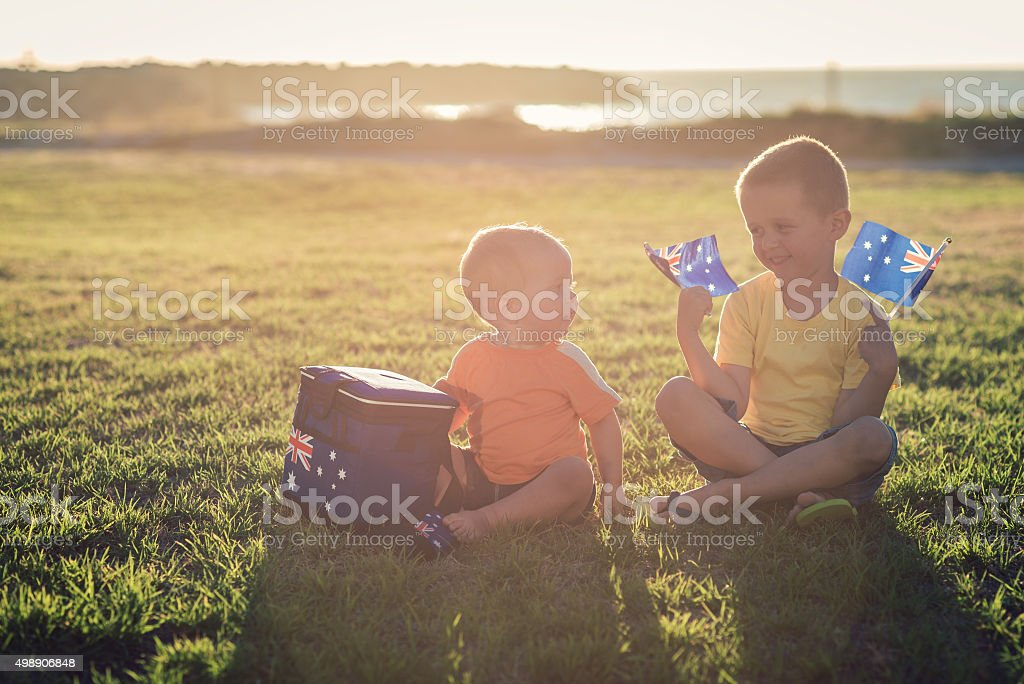Kids with flags of Australia stock photo