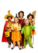 istock Kids with Halloween attributes in stage costumes 513449955