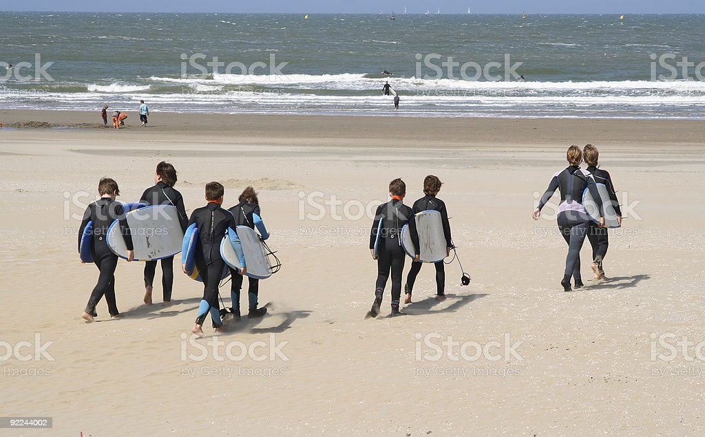 Kids with Surfboards stock photo