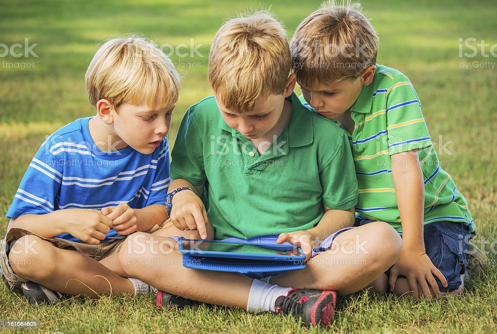 Kids with Tablet Computer royalty-free stock photo