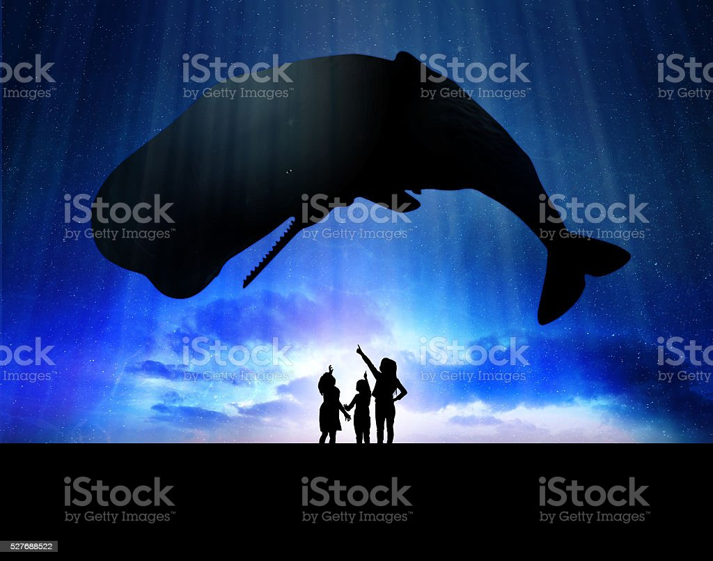 Kids with whale stock photo